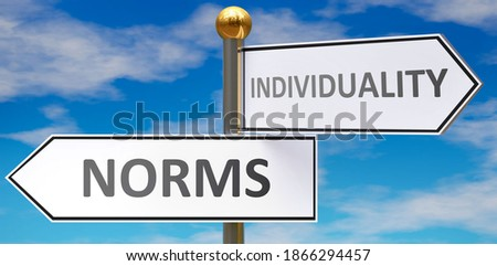Norms and individuality as different choices in life - pictured as words Norms, individuality on road signs pointing at opposite ways to show that these are alternative options., 3d illustration Photo stock ©