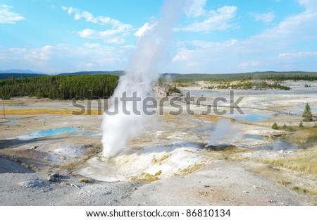 Norris Geyser Basin steam vents - stock photo