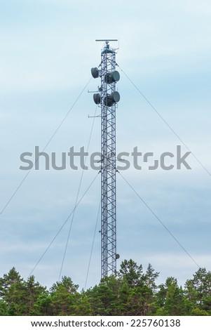 NORRTALJE - OCT, 18: High communications mast with radar. Oct 18, 2014 in Norrtalje, Sweden