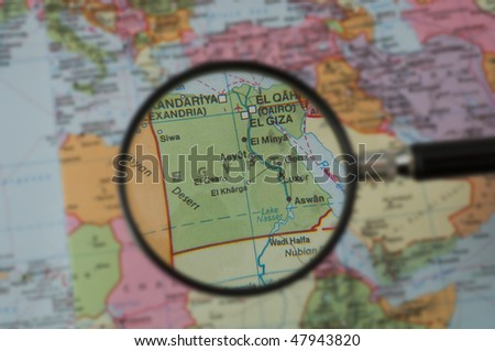 North Africa Map, selective focus