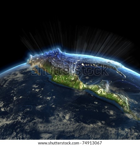 North America at night. Earth map from NASA