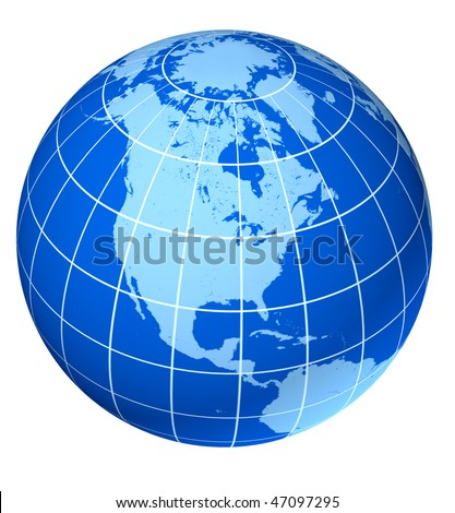 north america blue earth globe isolated on white