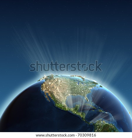 North America lights. Earth map from NASA