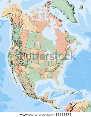 map of north american states. stock photo : North America
