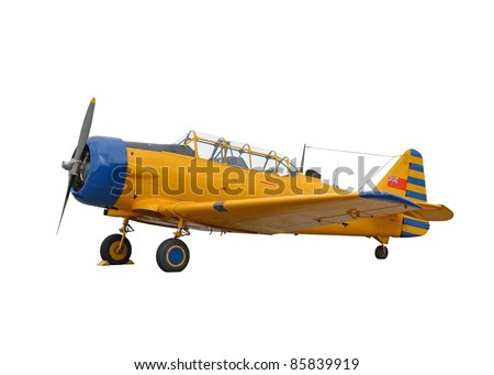 North American Harvard with former Canadian National flag isolated on white background