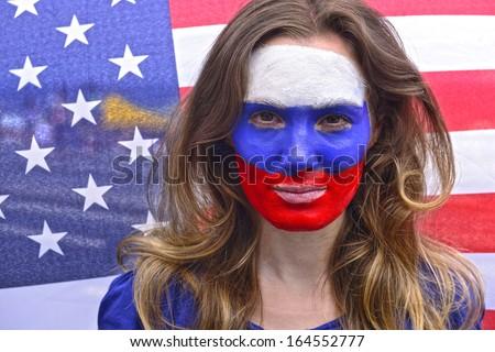 North american patriotic woman.