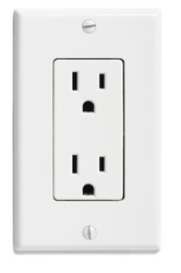 North American U.S. electrical socket outlet plug isolated on white background