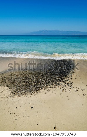 North beach of the small uninhabited island of Chrysī also called Chrissi or Gaidouronīsi about 7 miles south of Crete near Ierapetra, in the Libyan Sea.
