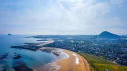 North Berwick town and beach, East Lothian, Scotland, United Kingdom