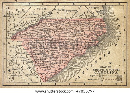 North Carolina and South Carolina, circa 1880. See the entire map collection: http://www.shutterstock.com/sets/22217-maps.html?rid=70583