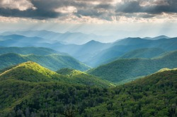 North Carolina Great Smoky Mountain Scenic Landscape with Light Rays and Spring Greens
