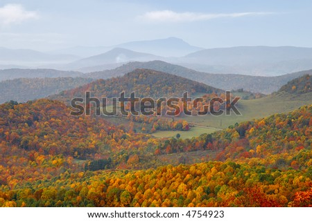 North Carolina Highlands in Autumn with Grandfather Mountain in the Background