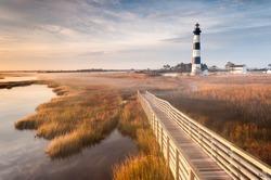 North Carolina Outer Banks Bodie Island Lighthouse Autumn Morning Marsh Boardwalk