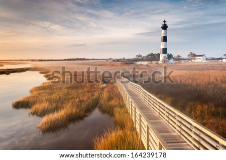 North Carolina Outer Banks Bodie Island Lighthouse Autumn Morning Marsh Boardwalk