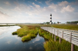 North Carolina Outer Banks Bodie Island Lighthouse Marsh on Cape Hatteras National Seashore
