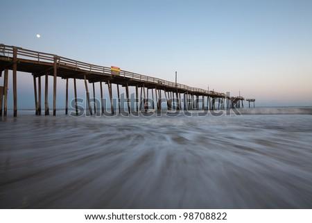 North Carolina Outerbanks Fishing Pier Moonlight Sunset