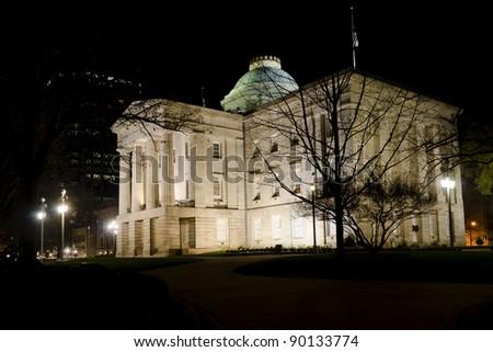 North Carolina State Capitol at night