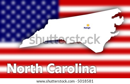 North Carolina state contour with Capital City against blurred USA flag