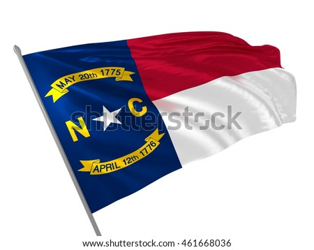 North Carolina state flag in USA waving in the wind. 3d illustration Stock fotó ©