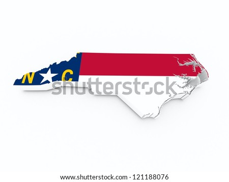 north carolina state flag on 3d map