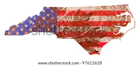 North Carolina state of the United States of America in grunge flag pattern isolated on white background