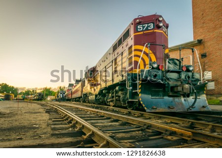 North Conway, NH - 7/2/17: A scenic railroad train ends the day at the station in northern New Hampshire