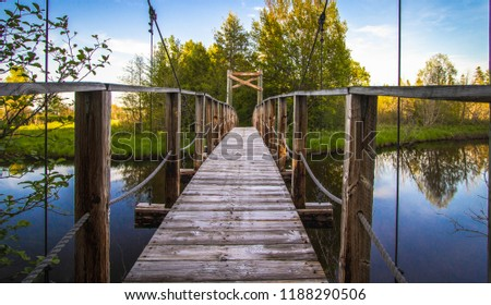 North Country Trail In Michigan. Footbridge over a river in the Hiawatha National Forest on the North Country Trail in the Upper Peninsula of Michigan.