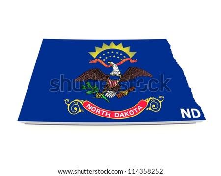 north dakota state flag on 3d map