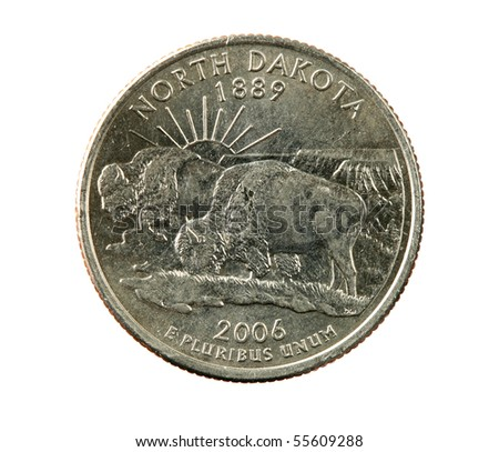 North Dakota state quarter coin isolated on white background