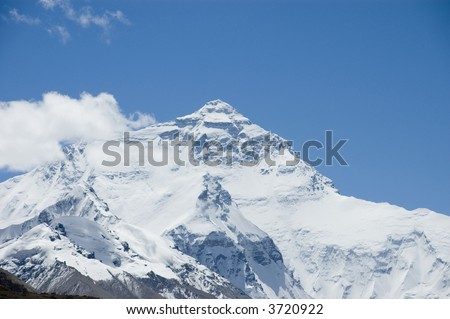 North face of Mount Everest from Rongphu Monastery, Tibet, China
