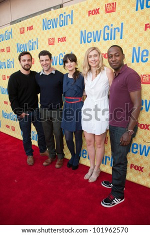 NORTH HOLLYWOOD, CA - MAY 07: Jake Johnson, Max Greenfield, Zooey Deschanel, Elizabeth Meriwether & Lamorne Morris arrive at the Goldenson Theatre on May 7, 2012 in N. Hollywood, CA