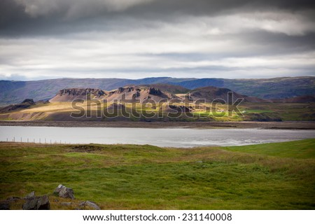 North Icelandic Landscape at Overcast Weather. Horizontal shot