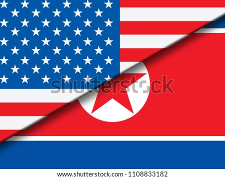 North Korea And United States Overlap Flag 3d Illustration. Shows Crisis Or Diplomacy And Friendship Between Pyongyang And Usa
