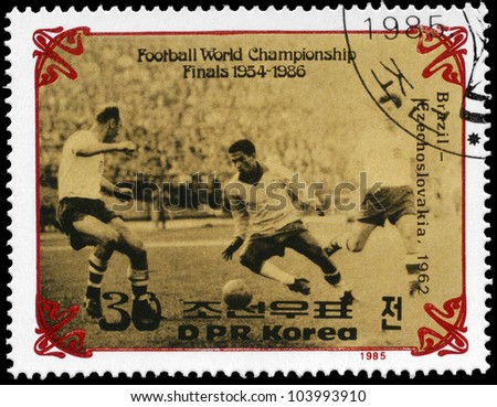 NORTH KOREA - CIRCA 1985: A stamp printed in NORTH KOREA shows the Final of World Cup Soccer Championships, Brazil vs. Czechoslovakia (1962), circa 1985 - stock photo