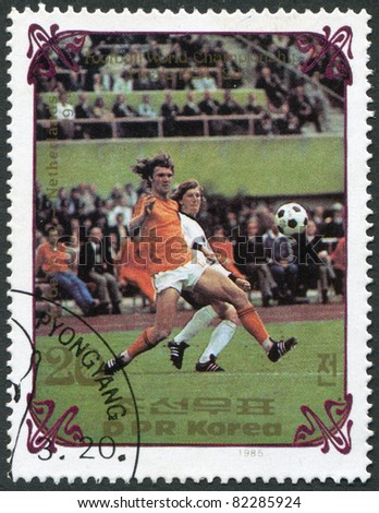 NORTH KOREA - CIRCA 1985: A stamp printed in North Korea, shows the final World Cup 1974, Netherlands - West Germany, circa 1985