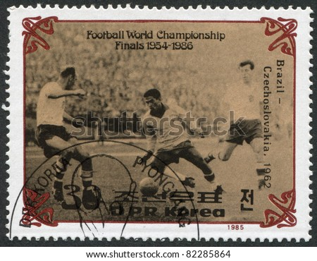 NORTH KOREA - CIRCA 1985: A stamp printed in North Korea, shows the final World Cup 1962, Brazil - Czechoslovakia, circa 1985