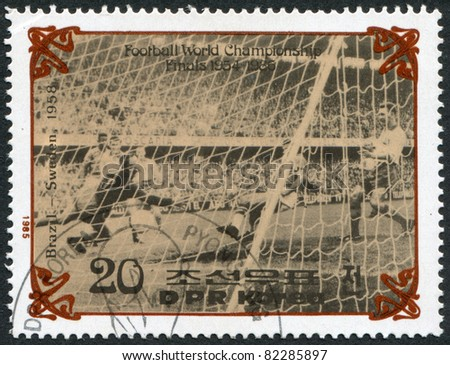 NORTH KOREA - CIRCA 1985: A stamp printed in North Korea, shows the final World Cup 1958, Brazil - Sweden, circa 1985