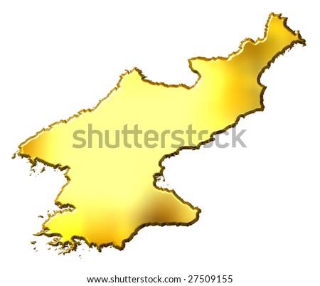 North Korea 3d golden map