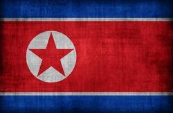 North Korea flag pattern ,retro vintage style
