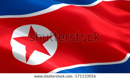 North Korea flag. Waving colorful North Korea flag
