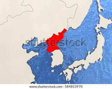 North Korea in red on political map with watery oceans. 3D ...