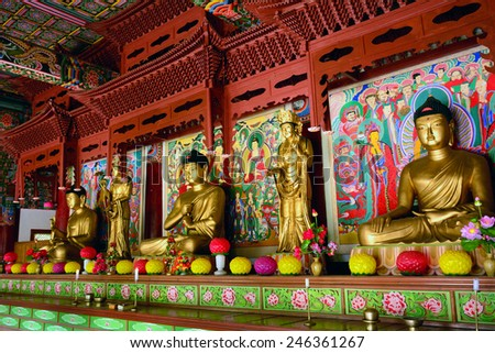 NORTH KOREA - JUNE 12:Pohyon temple on June 12, 2014 in North Korea. Buddhism is present but controlled in North Korea.