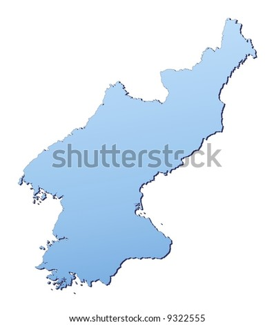 North Korea map filled with light blue gradient. High resolution. Mercator projection.