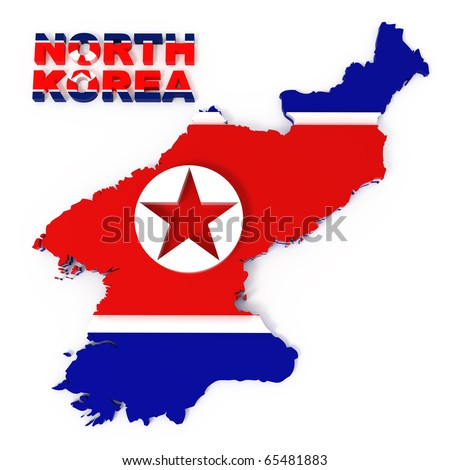 North Korea, map with flag, isolated on white with clipping path, 3d illustration