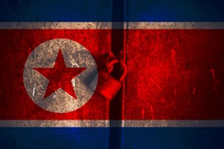 North Korean flag and padlock. Padlock on the background of the American flag. Closed country