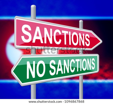 North Korean Sanctions Or No To Start Denuclearization 3d Illustration. Financial Legislation Imposed To Stop Trade To Dprk And Encourage Government Peace