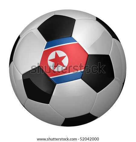 North Korean Soccer Ball isolated over white background