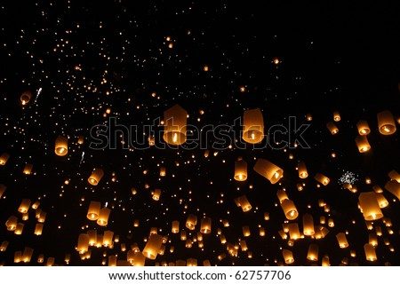North of Thailand Happy newyear christmas balloon yeepeng traditional at night