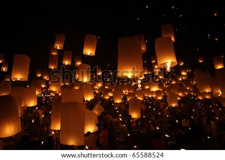 North of Thailand Happy newyear christmas balloon yeepeng traditional at night in Chiangmai Thailand