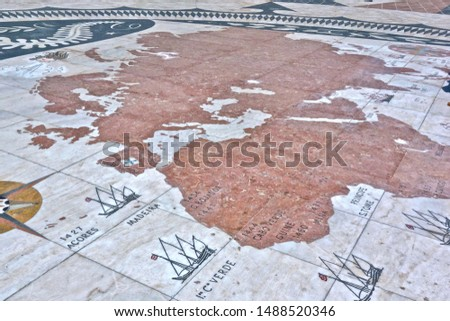 North of the Monument to the Discoveries in Belem, Portugal, there is a world map engraved into the pavement showing milestones of the discovery journeys.